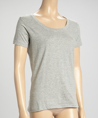 Bottoms Out Gal Light Heather Gray Short-Sleeve Scoop Neck Pajama Top