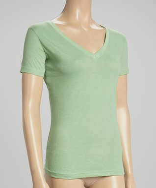 Bottoms Out Gal Light Green V-Neck Short-Sleeve Pajama Top