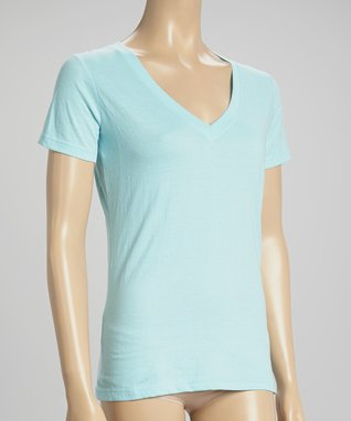 Bottoms Out Gal Light Turquoise V-Neck Short-Sleeve Pajama Top