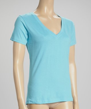 Bottoms Out Gal Sky Blue V-Neck Short-Sleeve Pajama Top