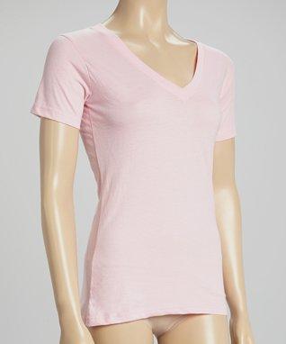Bottoms Out Gal Light Pink V-Neck Short-Sleeve Pajama Top