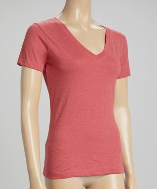 Bottoms Out Gal Red Apple V-Neck Short-Sleeve Pajama Top