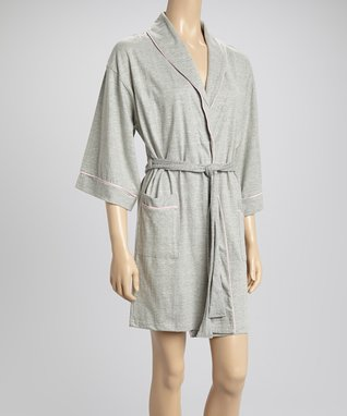 Bottoms Out Gal Light Heather Gray Robe