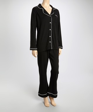 Bottoms Out Gal Black & White Jersey Pajama Set