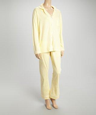 Bottoms Out Gal Lemon & White Jersey Pajama Set