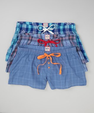 Bottoms Out Gal Blue & Pink Plaid Boxers Set