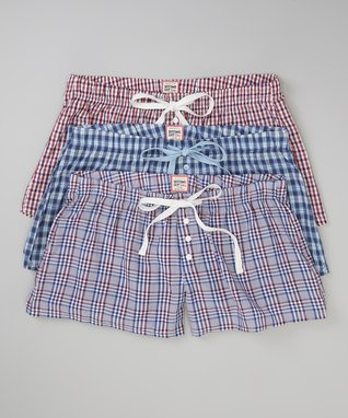 Bottoms Out Gal Pink Plaid Boxers Set