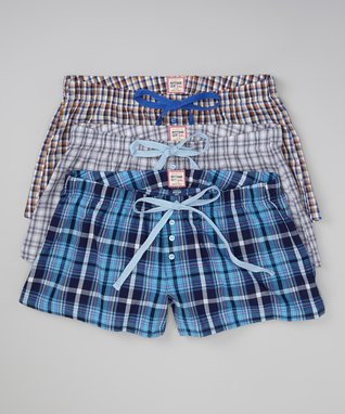 Bottoms Out Gal Yellow & Blue Plaid Boxers Set