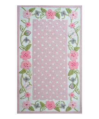 Pink & Green Flower Border Rug