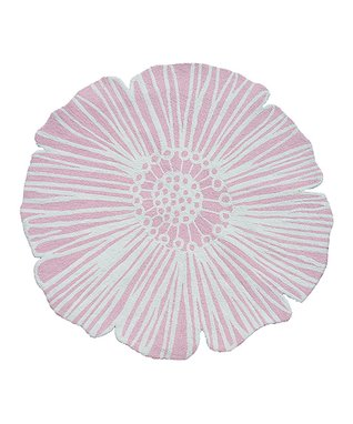 Pink & Cream Round Flower Rug