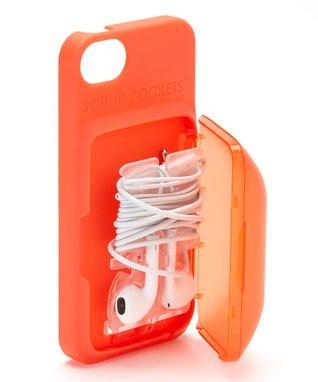 Orange Earbud Storage Case for iPhone
