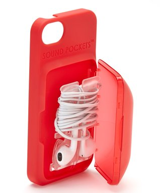 Red Earbud Storage Case for iPhone