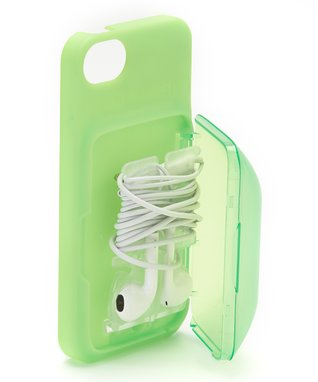 Green Earbud Storage Case for iPhone