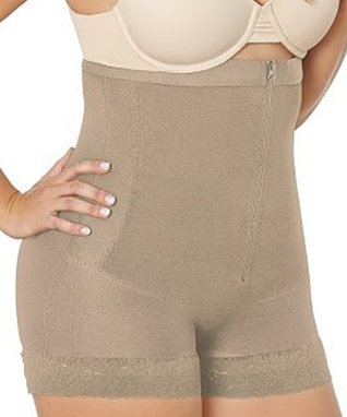 Nude Zip-Front Thermal Girdle Shaper Shorts - Plus