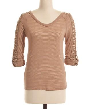 Pink & Cream Stripe Short-Sleeve Top