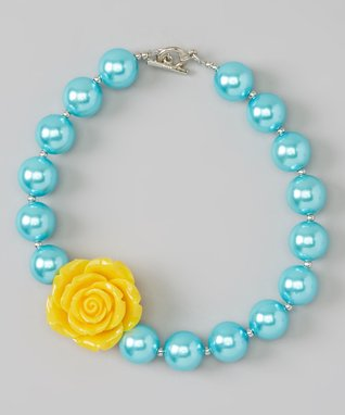 Blue & Yellow Rose Necklace
