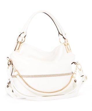 MKF Collection White Twister Shoulder Bag