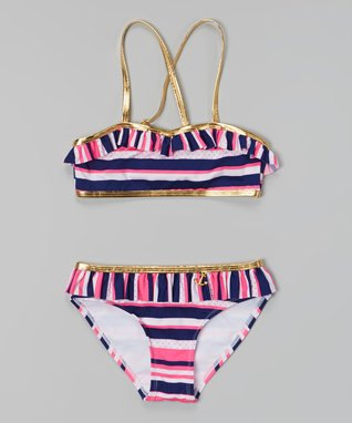 Gold & Pink Stripe Bikini - Girls