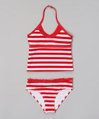 Red & White Stripe Tankini - Girls