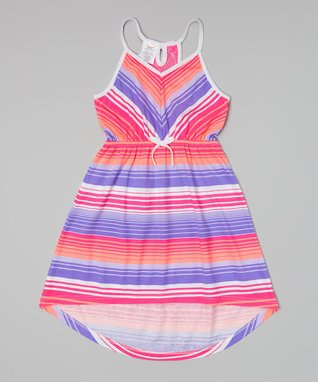 Pink & Blue Stripe Crocheted Cover-Up - Girls