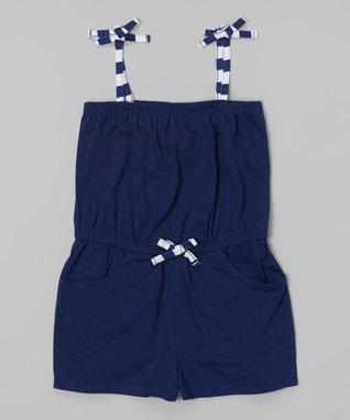 Navy Cover-Up Romper - Girls