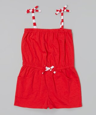 Red Cover-Up Romper - Girls