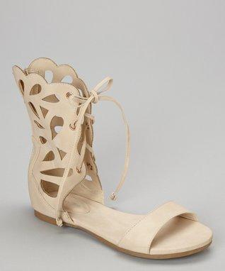 Beige Lace-Up Film Gladiator Sandal