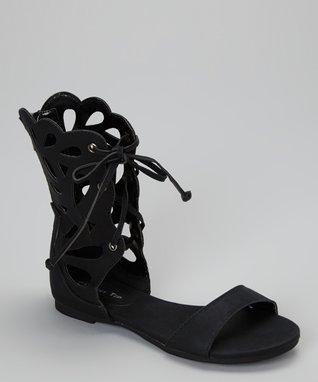 Black Lace-Up Film Gladiator Sandal