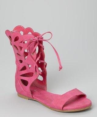 Fuchsia Lace-Up Film Gladiator Sandal