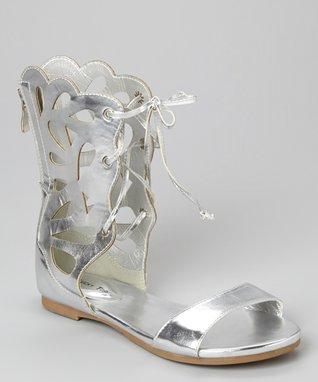 Silver Lace-Up Film Gladiator Sandal