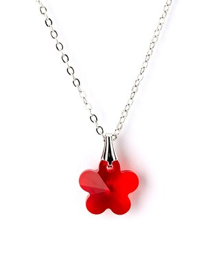 Red Floral Pendant Necklace Made With SWAROVSKI ELEMENTS