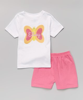 White Butterfly Personalized Tee - Infant, Toddler & Girls