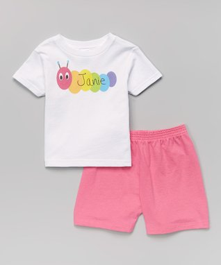 White Caterpillar Personalized Tee - Infant, Toddler & Girls