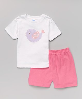 White Bird Personalized Tee & Pink Shorts