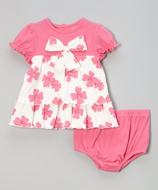 Sol Play Fuchsia Ruffle Henley Dress & Diaper Cover - Infant & Toddler