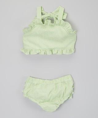 Green Ruffle Seersucker Bikini Sunsuit - Infant, Toddler & Girls