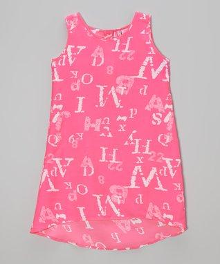 Apollo Pink & White Alphabet Dress - Girls