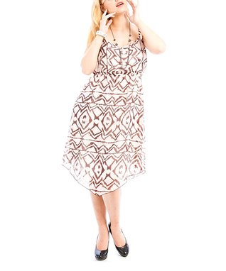 Black & White Angular Slit Maxi Skirt - Plus