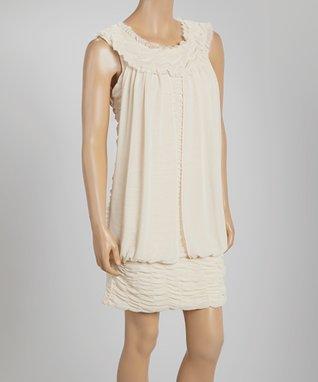 Creme Floral A-Line Dress