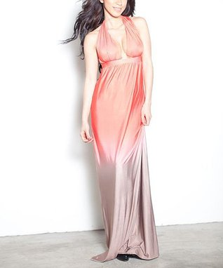 Peach Ombré Halter Maxi Dress