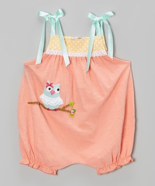 Peach Owl Bubble Romper - Infant & Toddler