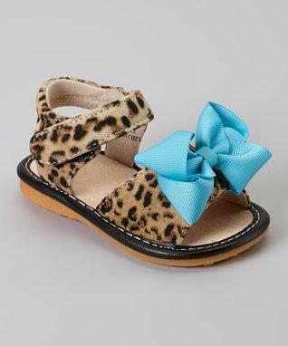 35c84fd004 Laniecakes Leopard   Teal Add-a-Bow Squeaker Sandal