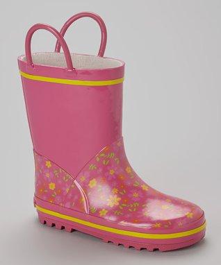 Laura Ashley Fuchsia Flower Rain Boot