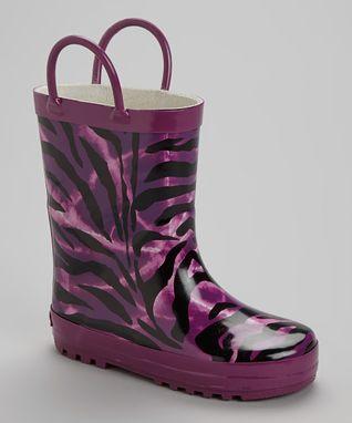 Laura Ashley Purple Zebra Rain Boot