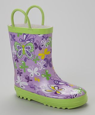 Laura Ashley Lime & Purple Butterfly Rain Boot
