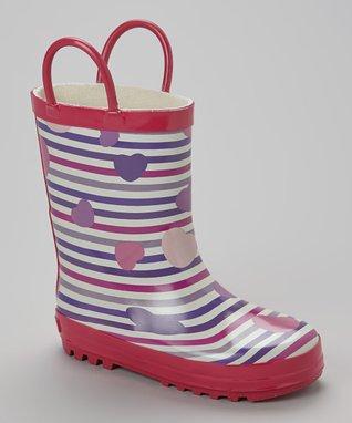 Laura Ashley Fuchsia & Purple Heart Rain Boot