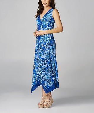 Blue & White Paisley Maxi Dress