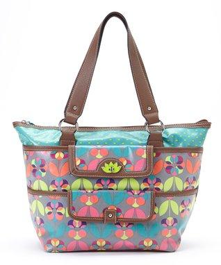 Lily Bloom Floral Dots Pocket Shopper Tote