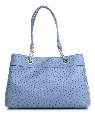 emilie m. Denim Blue Nicole Ostrich Shoulder Bag