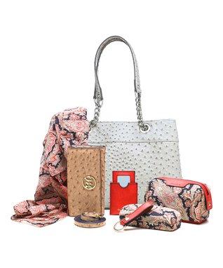 emilie m. Gray Ostrich Nicole Shoulder Bag & Essentials